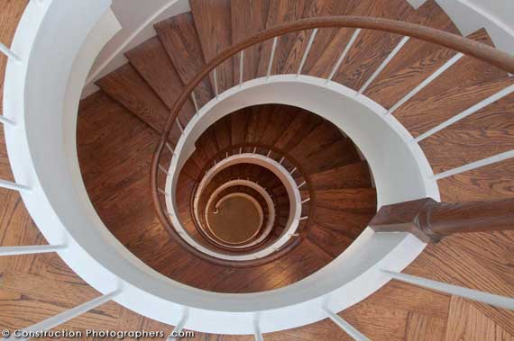 A five story spiral staircase is at the center of a mansion on Telegraph Hill in San Francisco.