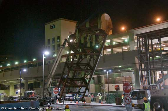 It was a frozen winter night as a huge steel stairway was delivered and lifted into place at a Bay Area BART station.